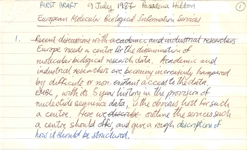 Hand writing on lined paper, entitled European Molecular Biology Information Services