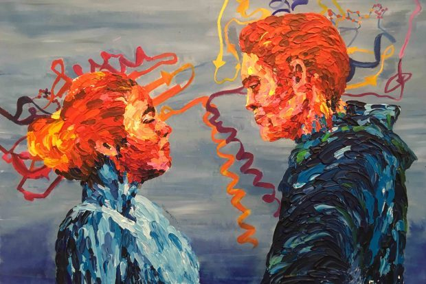 Acrylic painting of couple made of proteins