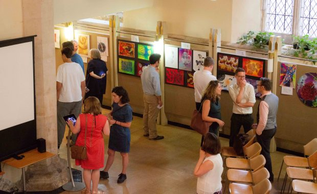 Overhead shot of 2018 PDBe art exhibition private viewing