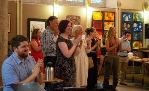 Opening talks at PDBe art exhibition