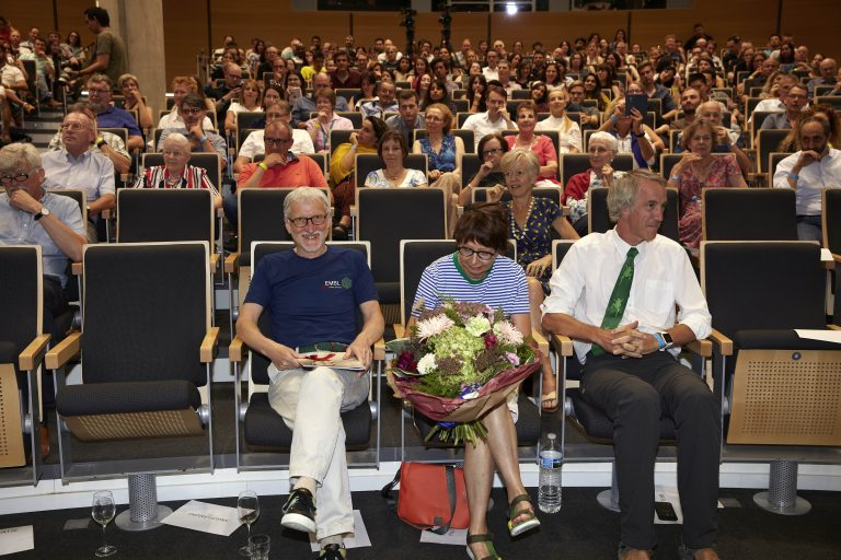 Left to right: Iain Mattaj, his wife Ailsa, and first ever PhD student, Graham Tebb, enjoyed the show from the front row. PHOTO: Photolab /EMBL