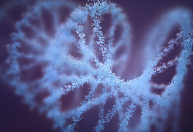 artistic impression of the double helix structure of DNA