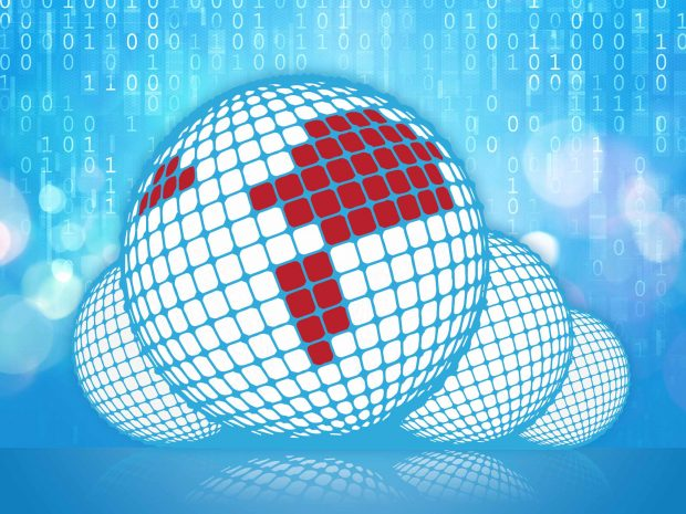 CINECA logo on blue data background