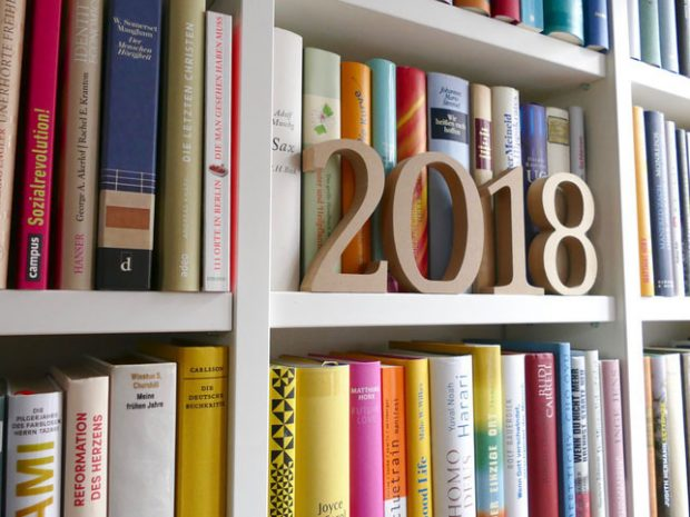 Year 2018 standing on library shelf