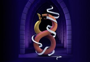 An Ouroboros is prevented from eating its own tail by a ribbon of RNA
