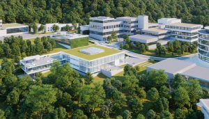 A rendering of the EMBL Imaging Centre and the rest of the EMBL campus in Heidelberg. IMAGE: gerstner architekten, Heidelberg/Render Vision