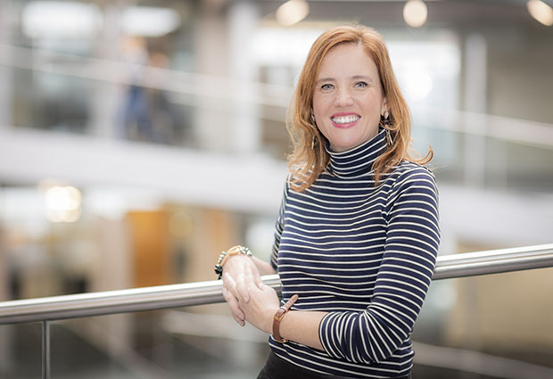 New head of Office of Resource Development at EMBL, Joana WItkowski, stands inside the ATC building at EMBL Heidelberg