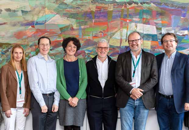 group photo of Janna Saarela, Mark Daly, EMBL Director General Edith Heard, former EMBL Director General Iain Mattaj, Poul Nissen, Oliver Billker