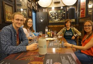 EMBL scientists in a bar for the event Pint of Science