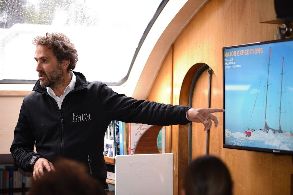 Romain Troublé (Director of the Tara Ocean Foundation) explaining the scope and impact of Tara expeditions.