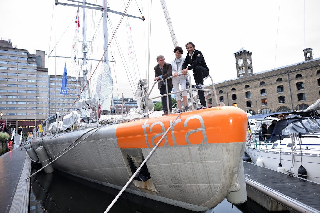 Ewan Birney, Edith Heard and Romain Troublé on the Tara schooner in London.