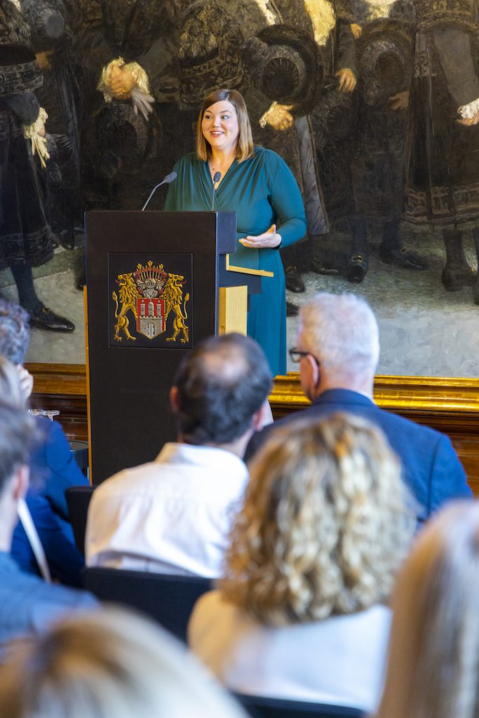 Katharina Fegebank (Second Mayor and Senator for Science, Research, and Gender Equality of the City of Hamburg) speaking during the reception at Hamburg City Hall.