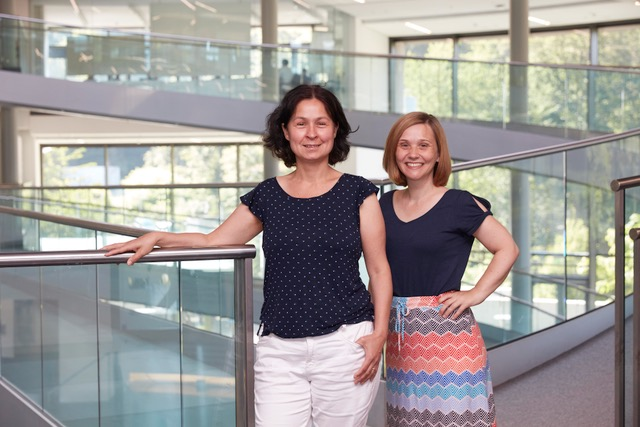 Brenda Stride and Monika Lachner inside EMBL's Advanced Training Centre