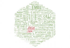 A word cloud displaying the most frequently used words in issue 93 of the EMBLetc. magazine