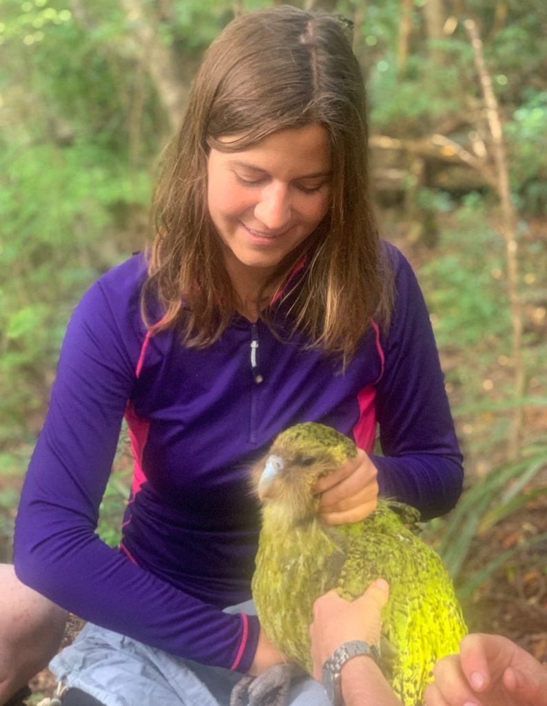 Lara Urban and Gulliver the kakapo