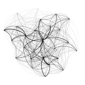 A spider web-like illustration of a network of connected objects.