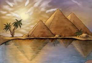 The pyramids represent chromatin domains in the wild-type situation. The reflection in the water below represents the rearrangements in the mutant fruit fly chromosomes. At first glance the (regulatory) landscapes look very similar, but there are lots of changes to the topology, and yet these have little impact on the nature of the landscape (gene expression). IMAGE: Beata Edyta Mierzwa in collaboration with EMBL.