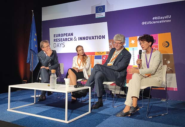 EMBL Director General Edith Heard (right), speaking at the panel session 'Let's speak about Europe's scientific excellence', with (left to right) Ben Feringa, Valeria Nicolosi and Helmut Schober.