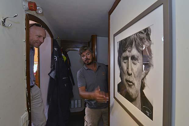 Nicolas Bin and James Sharpe with a photo of Sir Peter Blake