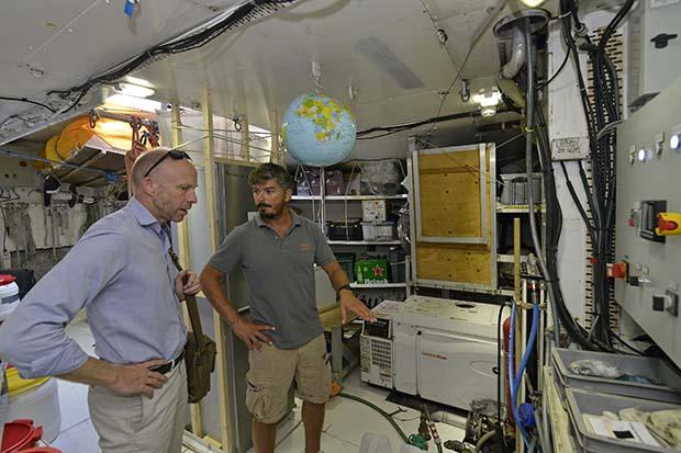 James Sharpe and Nicolas Bin in conversation on board Tara.