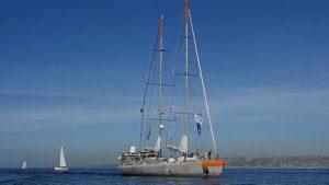 The Tara boat sailing into Marseille