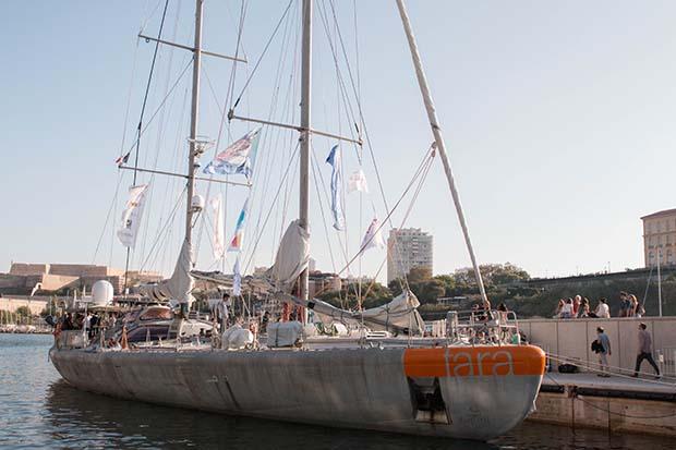 Tara docked in Marseille.