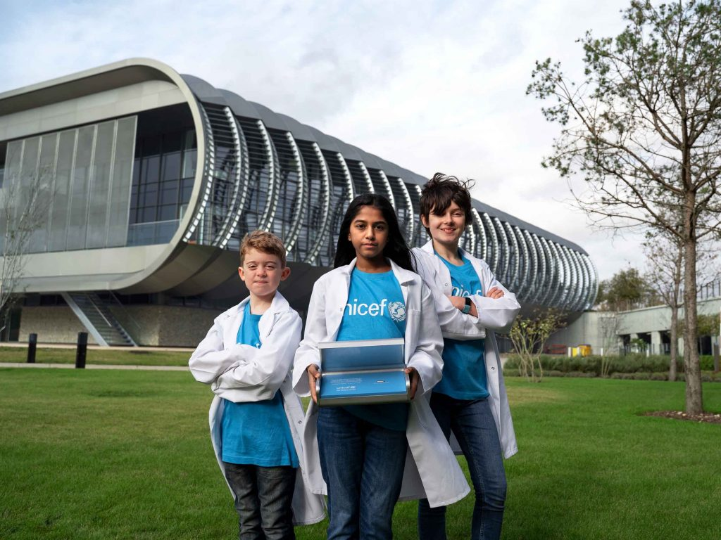 Children visit EMBL-EBI for DNA encoding process. Credit: UNICEF