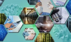 Collage of images representing wet and dry lab research and healthcare