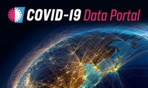COVID-19 Data Portal logo on globe background