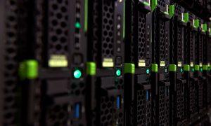 Close-up photograph of servers at EMBL Heidelberg's data centre.
