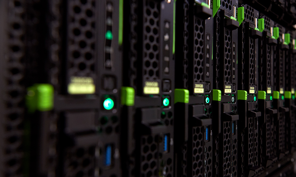 Close-up photograph of servers at EMBL Heidelberg's data centre.