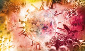 Key visual for the virtual EMBL conference 'SARS-CoV-2: Towards a New Era in Infection Research'. Credits: Aleksandra Krolik/EMBL
