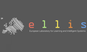 Logo of the European Laboratory for Learning and Intelligent Systems. Left: A chalkboard drawing of Europe. Right: the letters E L L I S in different colours.