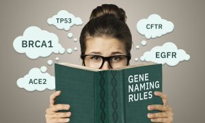 """A woman with glasses holds a book. The book cover says """"Gene naming rules"""". Thought bubbles float around her head and display gene symbols like BRCA1."""