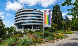The rainbow pride flag hanging in front of the Advanced Training Centre at EMBL Heidelberg. Picture taken in summer 2020.