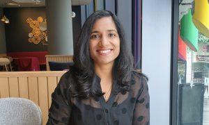 A portrait photo of Geetika Malhotra, new Head of Web Development at EMBL-EBI.
