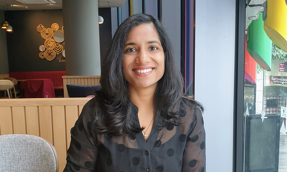 A portrait photo of Geetika Malhotra, new Head of Web Development at EMBL-EBI.