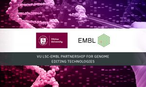 EMBL and Vilnius University logos on a background of genomic data