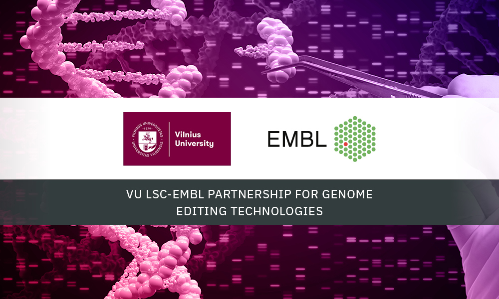 EMBL and Vilnius University logos on a background of genomic data
