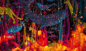 The conference key visual shows a variety of species engulfed by fire, reflecting the conference title, 'Our House Is Burning: Scientific and Societal Responses to Mass Extinction'.