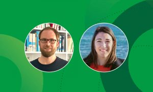Portraits of EMBL scientists Wojciech Galej and Maria Bernabeu