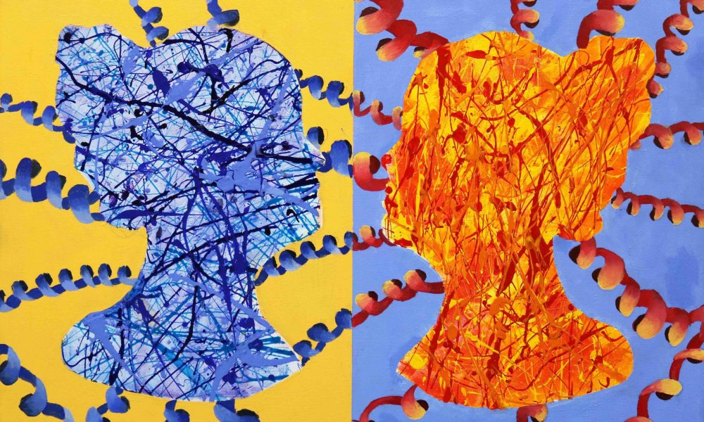 Protein painting from 2020 PDB Art exhibition, showing two colourful proteins on different coloured backgrounds.