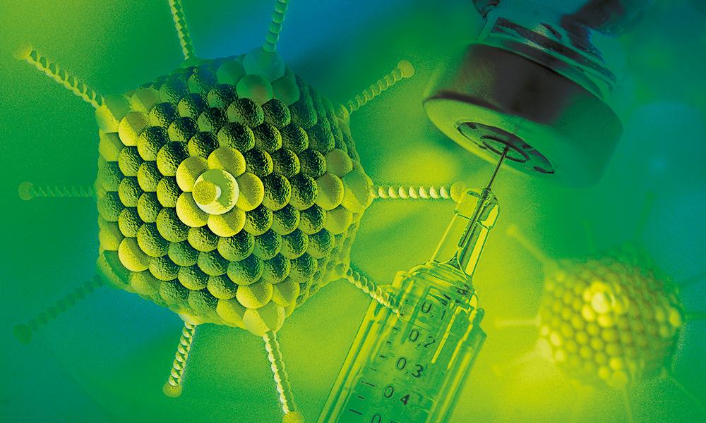 Rappresentazione artistica di un adenovirus e una fiala di vaccino