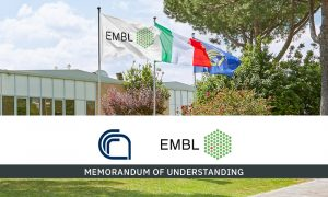 Flags of EMBL, Italy and CNR