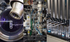 Three images showing close-ups of different EMBL facilitites.