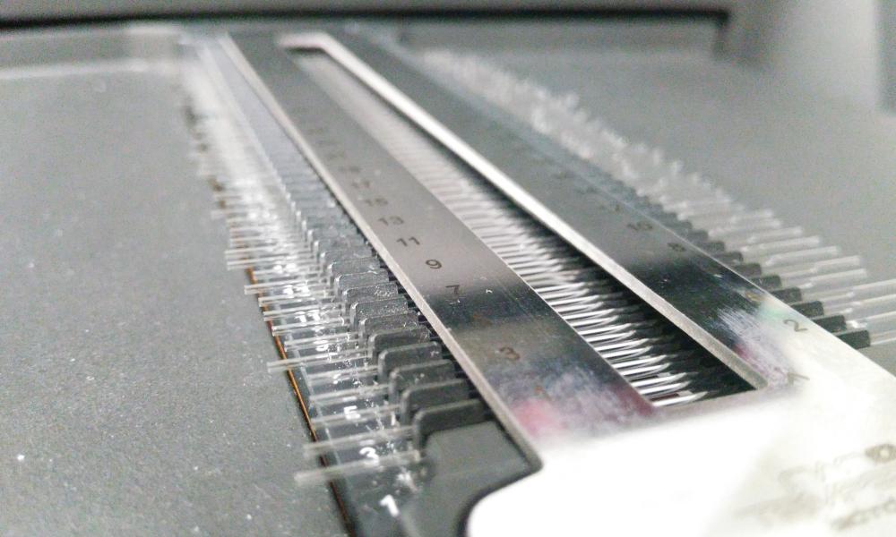 A metallic tool.