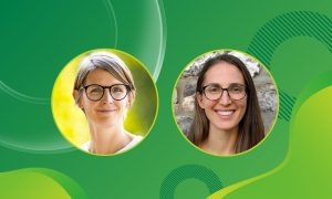 Two women's portraits are in circles on a greenish background