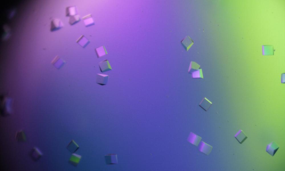 Crystal cubes seen through a microscope
