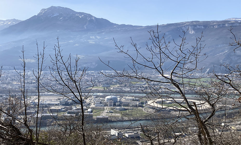 This photo shows the European Photon and Neutron (EPN) science campus on the peninsula at the confluence of the Isère and Drac rivers, where EMBL Grenoble is located.