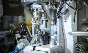Picture showing MD3, the micro-diffractometer developed by the Instrumentation team, installed at one of the EMBL Hamburg's beamline. Credits: Kinga Lubowiecka/EMBL